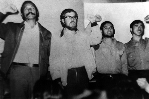 En la foto: Uldaricio Figueroa- sobreviviente- Carlos Lorca Tobar, Ariel Mancilla Ramírez,-secuestrados por la derecha terrorista-  Victor Carreño Zuñiga - Asesinado