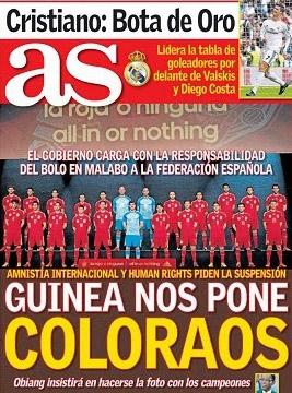 Portada del AS de España, 14 de noviembre de 2013