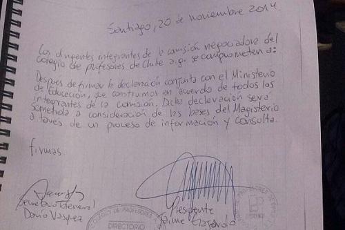 Documento donde Gajardo compromete consultar a las bases.- 20 noviembre 2014.