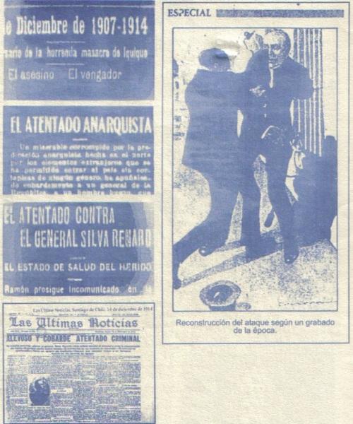 Noticias y grabado de la época del ajusticiamiento (extraídas de la separata de la revista Acción Directa nº5, Chile)