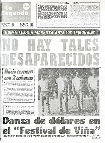 La Segunda, 9 de febrero de 1977.