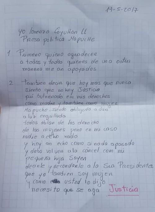 Reciente carta de Lorenza Cayuhán.